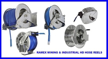 RAMEX MINING & INDUSTRIAL HOSE REELS HD - STAINLESS STEEL & POWDER COATED STEEL